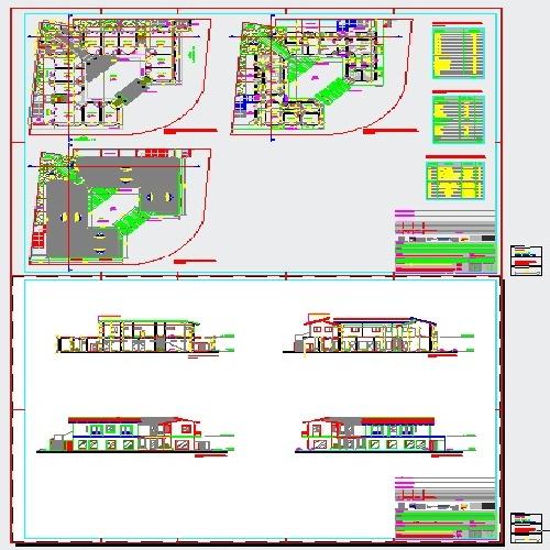 مجتمع تجاری مسکونی 2 طبقه با پلان حیاط مرکزی